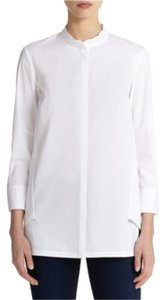 Lafayette 148 New York Blouse Poplin Button Down Shirt White