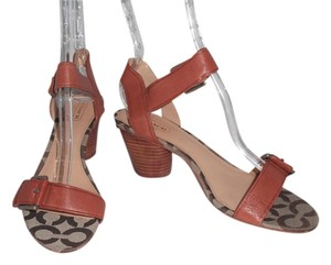 Coach Stacked Heel Brown Sandals