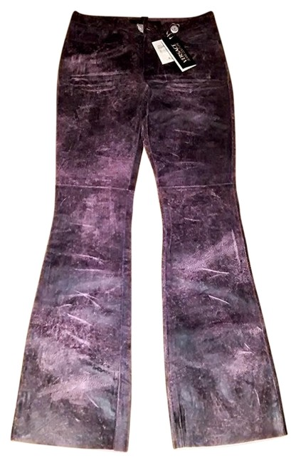 Item - Purple Distressed Limited Edition Couture Leather Flare Leg Jeans Size 28 (4, S)
