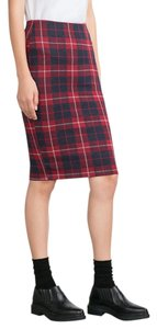 Zara Plaid Plaid Skirt Red navy blue