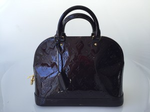 Louis Vuitton Leather Purple Vernis Satchel in Amarante