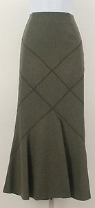 Worth 17c38 Wool Maxi Skirt Breen Mel (Moss)