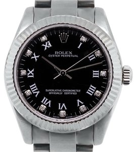 Rolex Rolex Oyster Perpetual 177234 Midsize Black Roman Diamond Dial Watch