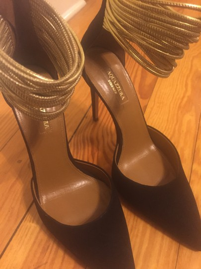 Aquazzura Suede Zip Closure Black Pumps Image 3