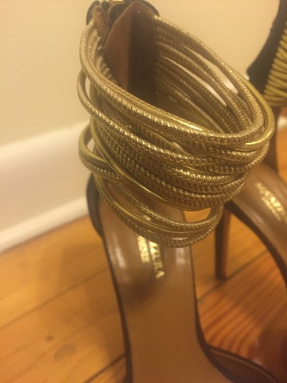 Aquazzura Suede Zip Closure Black Pumps Image 4