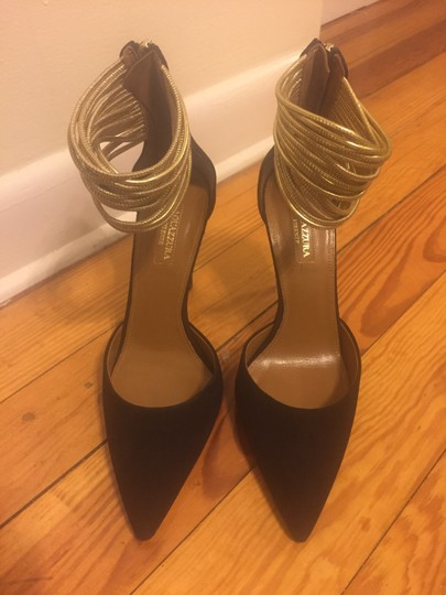 Aquazzura Suede Zip Closure Black Pumps Image 7