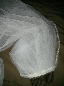 David's Bridal Bridal Elbow Length Veil 1 Tier With Beaded Edge
