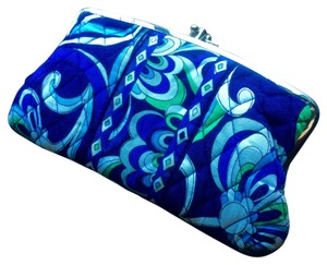 Vera Bradley Blue and Green Paisley Clutch