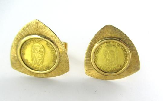 gold 18K SOLID YELLOW GOLD COIN CACIQUES DE VENEZUELA ARICHUNA PARAMACAY CUFFLINKS