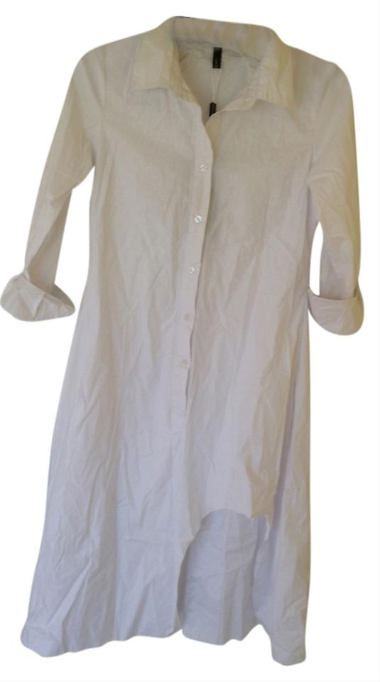 White shirt high low cotton classic dress 11003845 for Classic white dress shirt