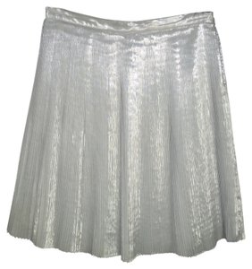 Talbots Pleated Sheen Slver Metallic Skirt
