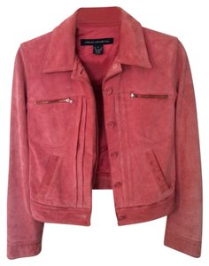 French Connection Fcuk Suede Leather Coat Moto Motorcycle Warm All Weather Coral Color Colored Zipper Hardware 4 Small Salmon Leather Jacket
