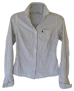 Abercrombie & Fitch Oxford A&f Button Down Shirt White and Blue