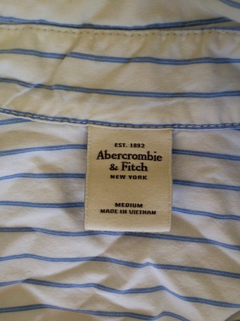 Abercrombie & Fitch Oxford A&f Button Down Shirt White and Blue Image 2