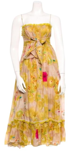 Item - Chartreuse Beige Magenta Pleated Spaghetti Strap Mid-length Casual Maxi Dress Size 6 (S)