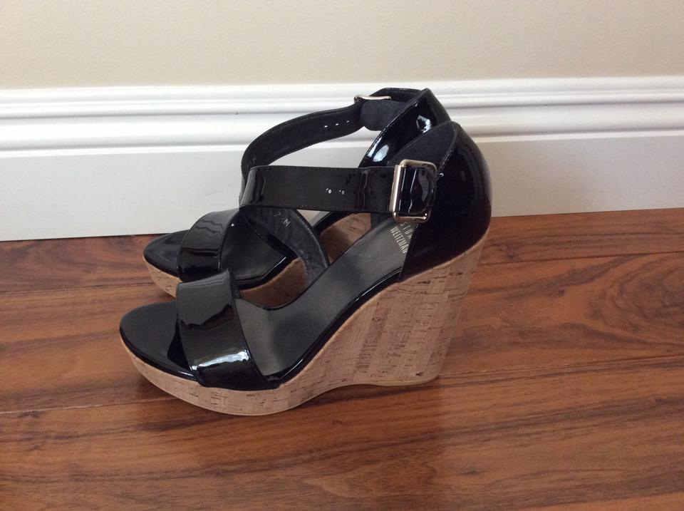 db4f15efc3e2 Stuart Weitzman Black Oneliner Patent Leather Sandal Wedges Size US ...