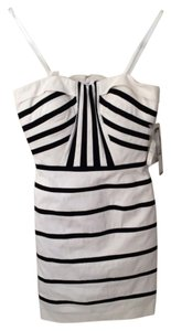 Tahari Formal Mini Mini Above Knee Strapless Sweetheart Straps Stripe Striped Dress