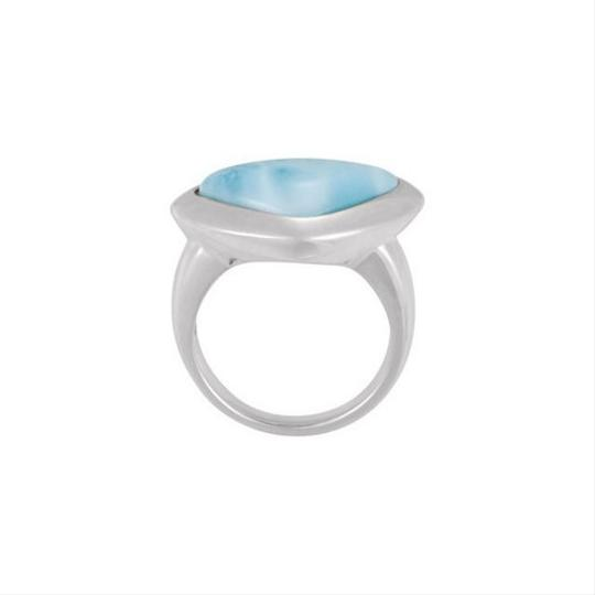 Other Modern Designer Vintage Inspired .925 Sterling Silver & Genuine Larimar Ring Image 1