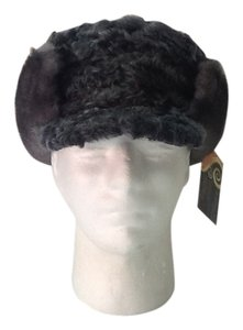 HAND MADE NATURAL BLUE GRAY PERSIAN SHEEP/MINK MAN HAT SIZE L NEW WITH TAG