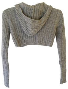 American Eagle Outfitters Empire Waist Hood Silver Cardigan