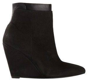 Vince Boot Bootie Wedge Leather Black Boots