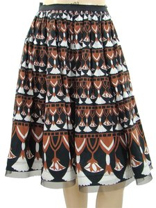 Philosophy di Alberta Ferretti Sheer Cotton Geometric Print Mesh Skirt Black, Brown, White