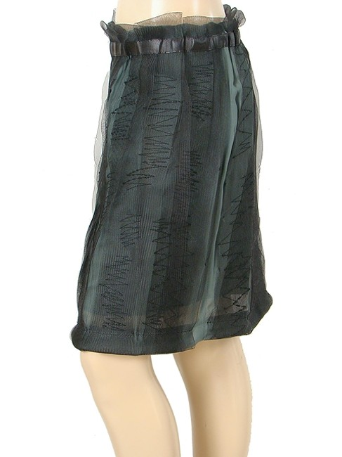 Philosophy di Alberta Ferretti Rayon Tulle Sheer Mesh Pencil Structured Skirt Green, Black