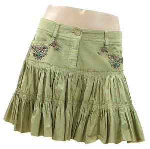 Philosophy di Alberta Ferretti Khaki Embroidered Beaded Pleated Ruffle Mini Metallic Mini Skirt Olive, Green