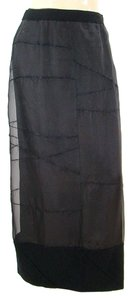 Philosophy di Alberta Ferretti Sheer Silk Mesh Wool Maxi Skirt Black