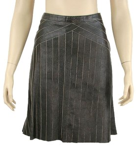 Prada Leather Pleated A-line Flowy Striped Skirt Black, Charcoal