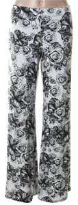 Lauren Moshi Skulls Roses Boho Wide Leg Pants Black White