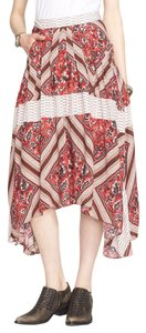 Free People Rayon Print Pleated Skirt Red