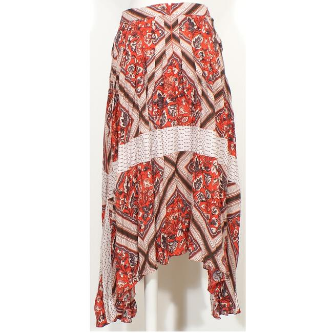 Free People Rayon Print Pleated Skirt Red Image 4