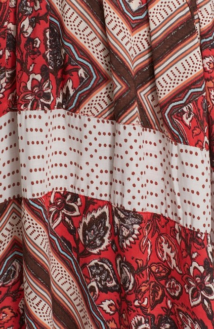 Free People Rayon Print Pleated Skirt Red Image 3