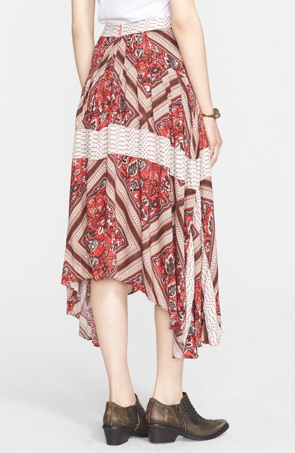 Free People Rayon Print Pleated Skirt Red Image 1