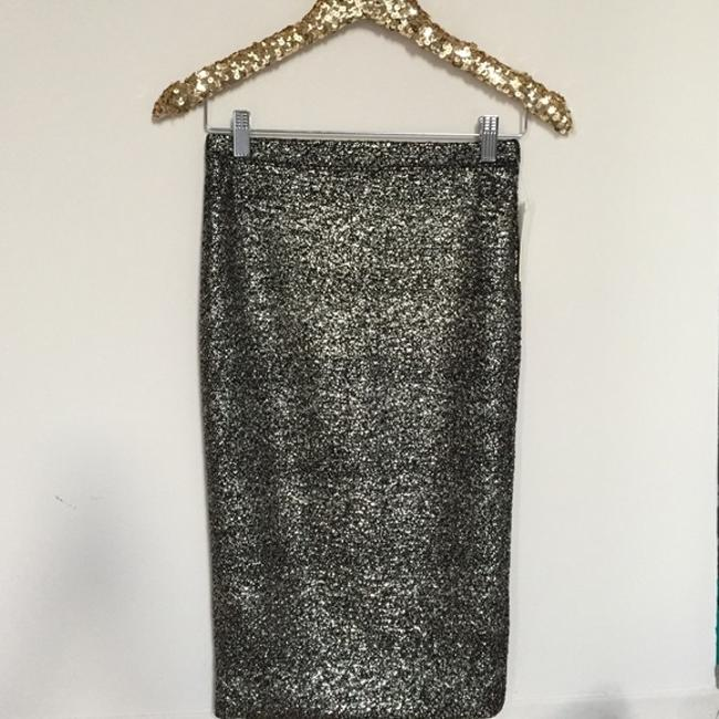 June & Hudson Pencil Holiday Party Gold Black Sexy Skirt metallic Image 1