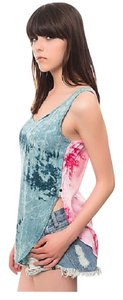 One Teaspoon Funky Boho Australian Peasant Top Petrol Pink