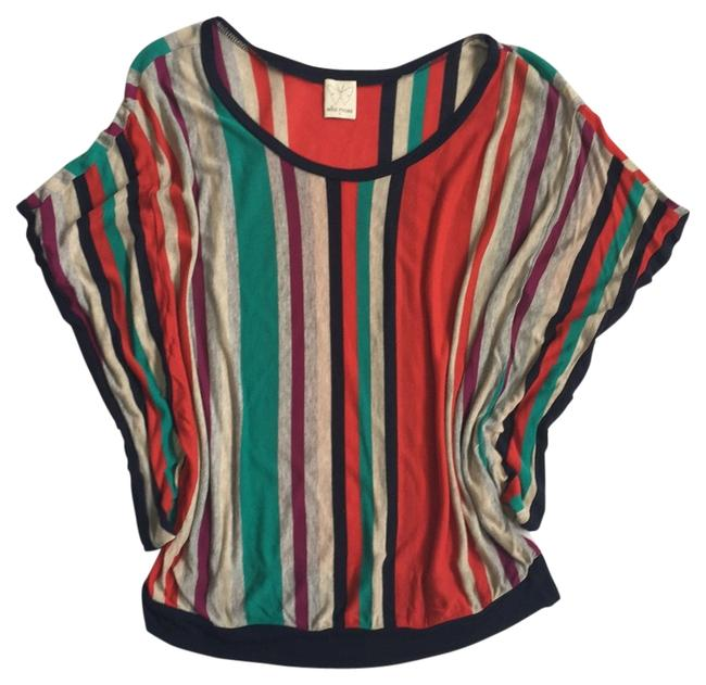 Item - Red Navy Grey Green Striped Sweater