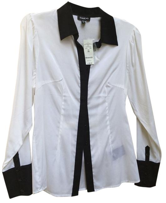 Preload https://img-static.tradesy.com/item/11006383/bebe-white-with-black-contrast-silk-blouse-shirt-sheer-button-down-top-size-2-xs-0-1-650-650.jpg