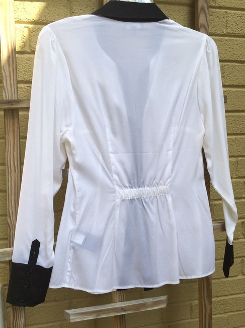bebe Silk Button Down Shirt white with black contrast Image 1