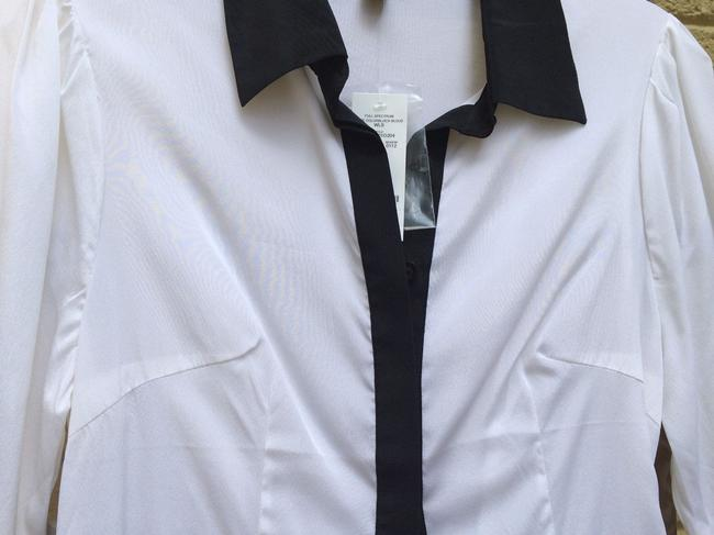 bebe Silk Button Down Shirt white with black contrast Image 2