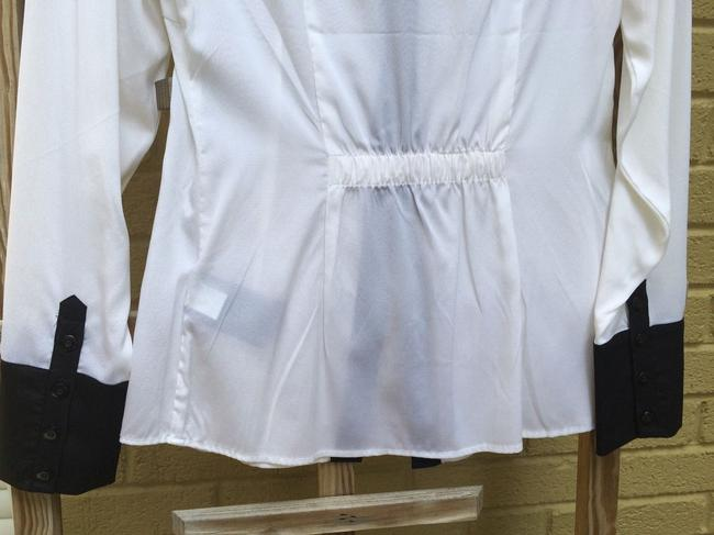 bebe Silk Button Down Shirt white with black contrast Image 3