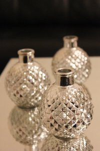 bebe Silver 10 Mercury Glass Bud Vases Vase Small Mini Vintage Style Reception Decoration