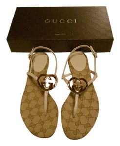 Gucci Goldtone Logo Mystic White Sandals