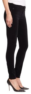 Mother Skinny Pants Black Faux Suede
