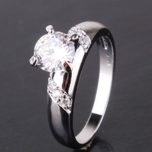 Silver Bogo Free Charming White Topaz Free Shipping Engagement Ring