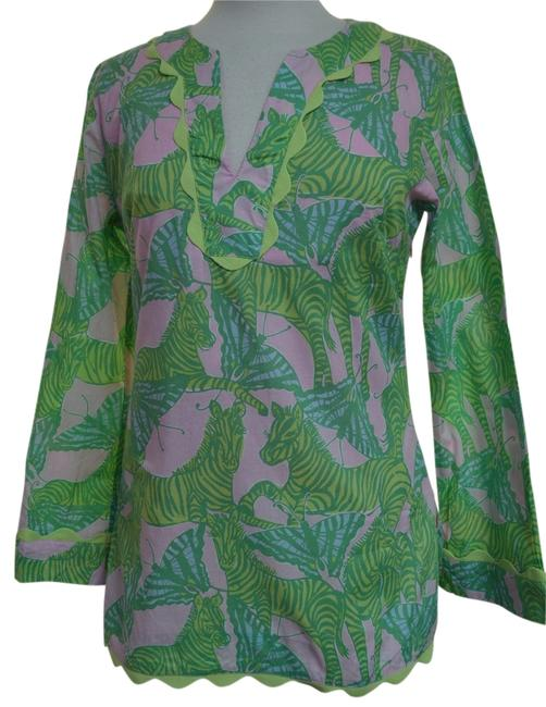 Preload https://img-static.tradesy.com/item/11007274/lilly-pulitzer-pinkgreen-zebras-and-butterflies-tunic-size-6-s-0-1-650-650.jpg