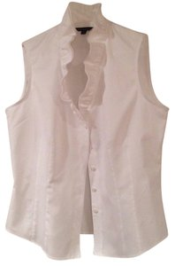 Brooks Brothers Cotton Ruffle Sleeveless Top White