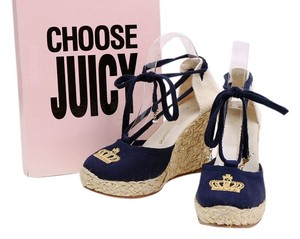 Juicy Couture Platform Espadrille Blue Brown Navy Wedges