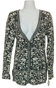 Maison Jules Button Down V-neck Sweater Shiny Medium Floral Cardigan